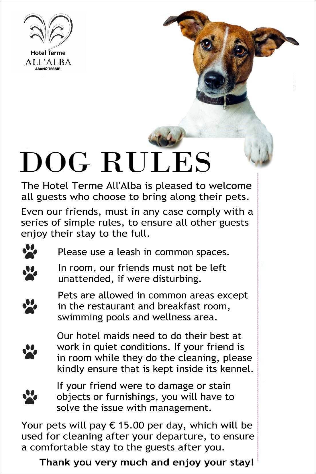 Pet Rules - Hotel All'Alba